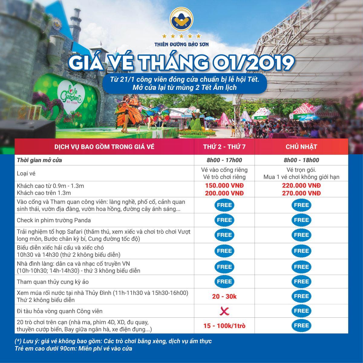 Bảng giá vé du lịch thiên đường Bảo Sơn