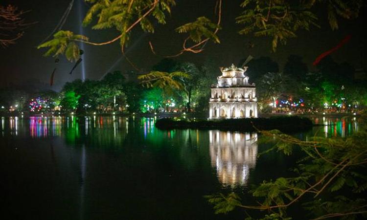 ảnh Hồ Gươm Hà Nội đêm xuống