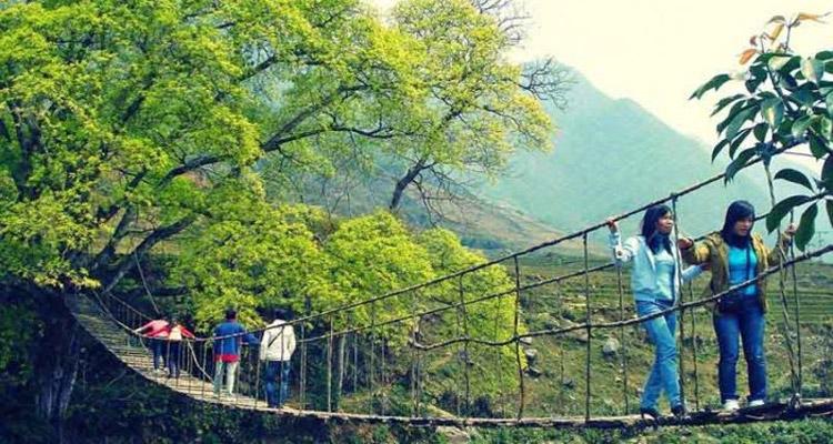 Cầu Mây nằm tại bản Tả Van Giáy, xã Tả Van, cách thị trấn Sapa khoảng 15km.