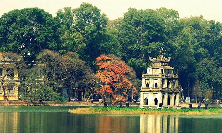 Tháp Rùa Hồ Gươm mùa thu