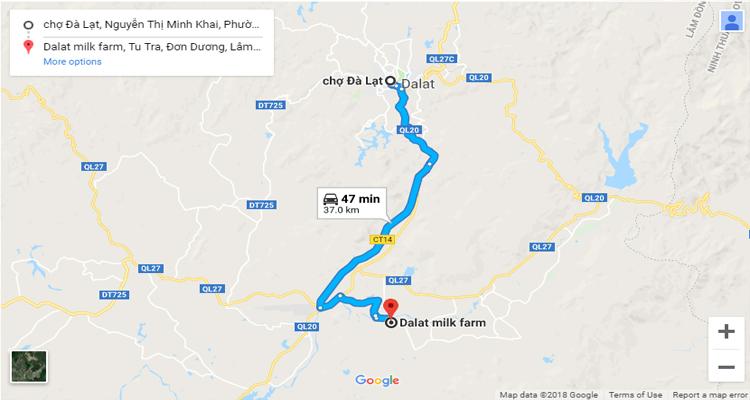 Đà Lạt Milk Farm - bản đồ