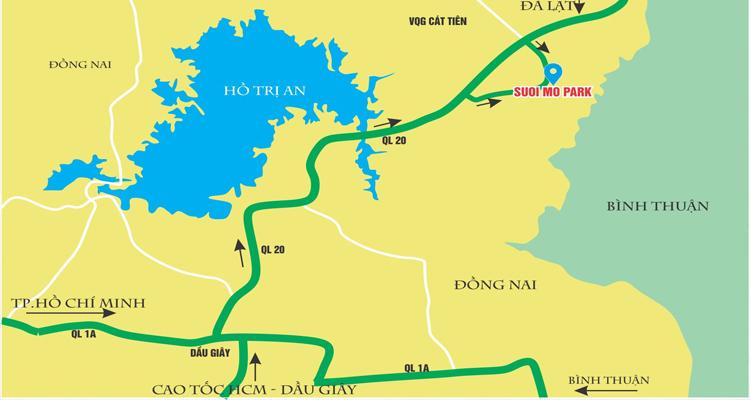 Khu du lịch Suối Mơ - bản đồ